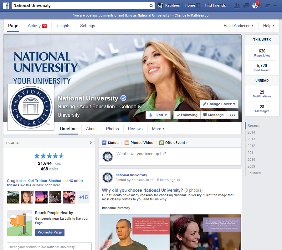 National University Main Facebook Page